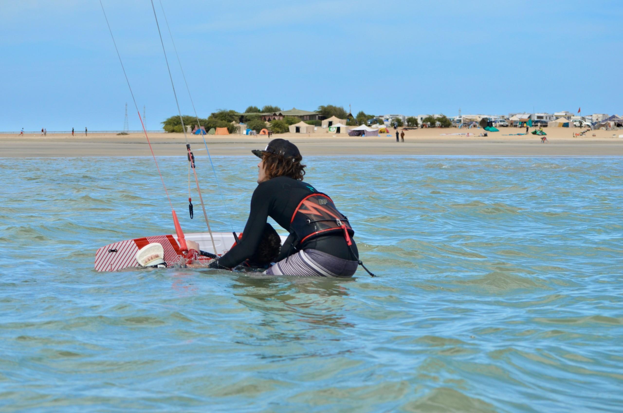 Waterstart avec stagiaire kitesurf